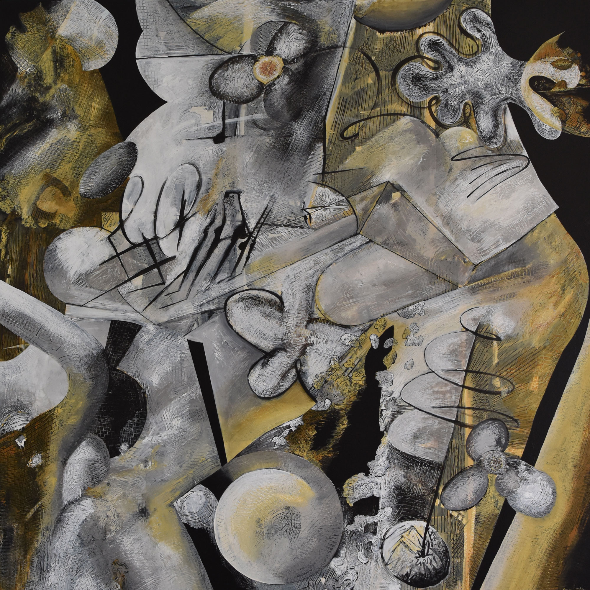 "Brian Sholdt   Crutch of Desire (sold)   acrylic on board   48"" x 48""   2017"