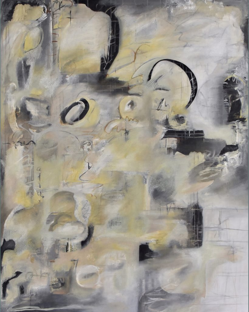 "Brian Sholdt | Inquire Within (sold) | acrylic, graphite, on canvas | 48""x 60"" 