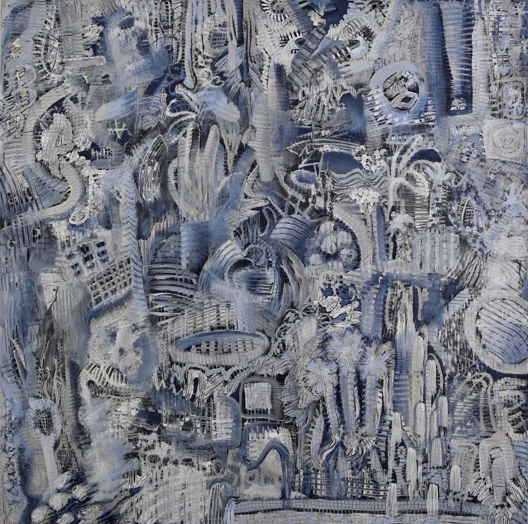 """Brian Sholdt   Blue Zoo (nfs)   Acrylic on Canvas    40""""x 40""""   2019"""