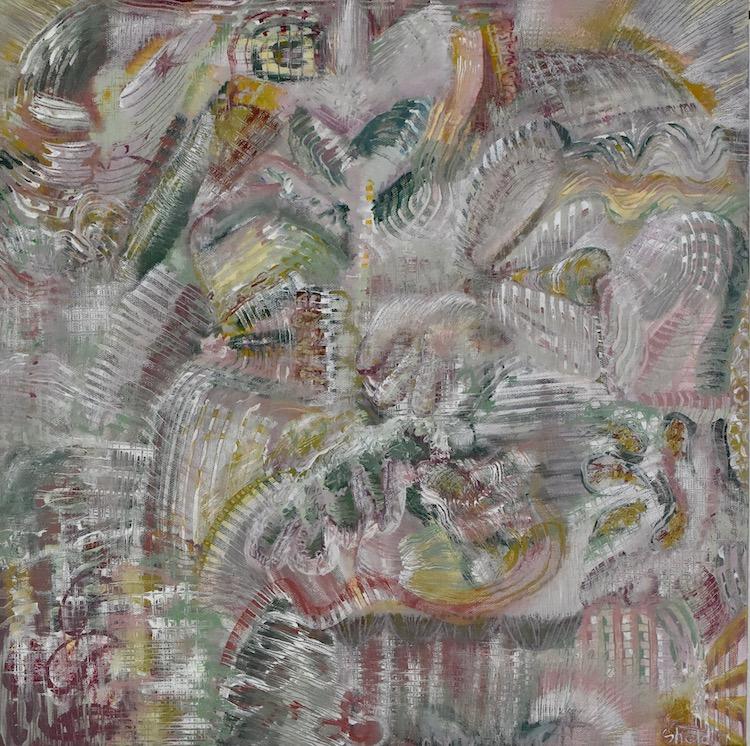"""Brian Sholdt   Tender Garden   Acrylic on Canvas   18""""x 18""""   2019"""